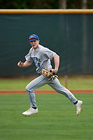 Central Connecticut State Blue Devils outfielder Jake Siracusa (6) during warmups before a game against the North Dakota State Bison on February 23, 2018 at North Charlotte Regional Park in Port Charlotte, Florida.  North Dakota State defeated Connecticut State 2-0.  (Mike Janes/Four Seam Images)