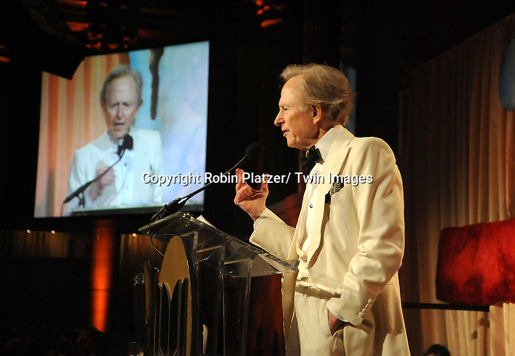 Tom Wolfe accepting his Lifetime Achievement Award at  The 2010 National Book Awards on November 17, 2010 at Cipriani Wall Street in New York City.
