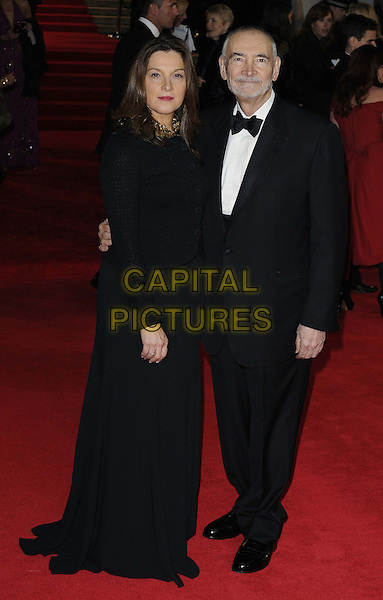 Barbara Broccoli & Michael G. Wilson.'Skyfall' Royal World Film Premiere, Royal Albert Hall, Kensington Gore, London, England..23rd October 2012.full length black dress tuxedo white shirt bow tie half-brother half-sister family .CAP/CAN.©Can Nguyen/Capital Pictures.
