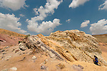 Israel, the Negev. Colored rocks at the Large Crater