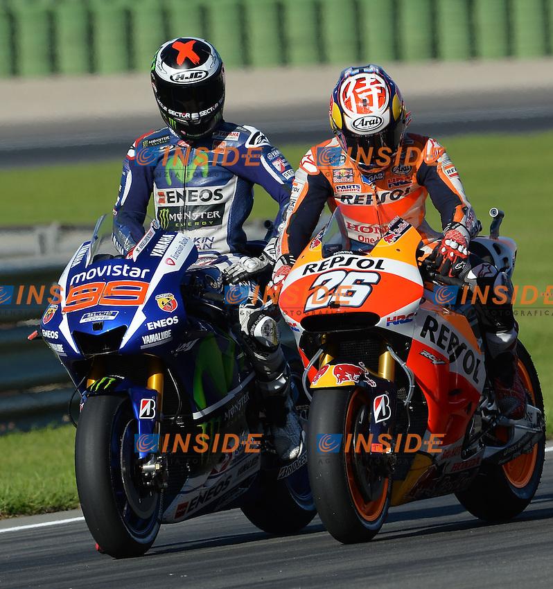 Valencia (Spagna) 06-11-2015 - prove libere Moto GP / foto Luca Gambuti/Image Sport/Insidefoto<br /> nella foto: Jorge Lorenzo-Marc Marquez