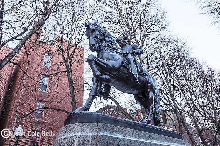 Paul Revere statue by Cyrus Edwin Dallin, 1940, in the North End of Boston, Massachusetts, USA