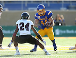 BROOKINGS, SD - NOVEMBER 5:  Brady Mengarelli #44 from South Dakota State looks to make a move against Darius Daniel #24 form Missouri State in the first half Saturday afternoon at Dana J. Dykhouse Stadium in Brookings. (Photo by Dave Eggen/Inertia)