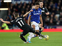 11th January 2020; Goodison Park, Liverpool, Merseyside, England; English Premier League Football, Everton versus Brighton and Hove Albion; Leandro Trossard of Brighton and Hove Albion tackles Dominic Calvert-Lewin of Everton   - Strictly Editorial Use Only. No use with unauthorized audio, video, data, fixture lists, club/league logos or 'live' services. Online in-match use limited to 120 images, no video emulation. No use in betting, games or single club/league/player publications