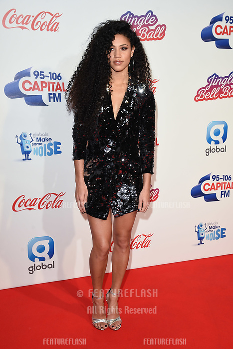 LONDON, UK. December 08, 2018: Vick Hope at Capital's Jingle Bell Ball 2018 with Coca-Cola, O2 Arena, London.<br /> Picture: Steve Vas/Featureflash