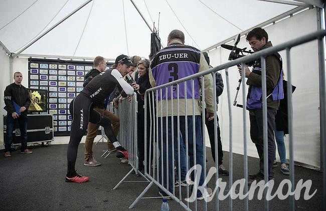 many post-race interviews for race winner Fabian Cancellara (CHE/TrekFactoryRacing)<br /> <br /> Ronde van Vlaanderen 2014