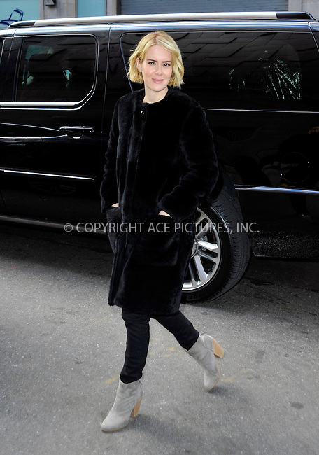 WWW.ACEPIXS.COM<br /> <br /> January 20 2015, New York City<br /> <br /> Sarah Paulson made an appearance at the 'Wendy Williams Show' on January 20 2015 in New York City.<br /> <br /> <br /> Please byline: Curtis Means/ACE Pictures<br /> <br /> ACE Pictures, Inc.<br /> www.acepixs.com, Email: info@acepixs.com<br /> Tel: 646 769 0430