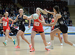 Wales Chelsea Lewis in action during todays match   <br /> <br /> Swansea University International Netball Test Series: Wales v New Zealand<br /> Ice Arena Wales<br /> 08.02.17<br /> &copy;Ian Cook - Sportingwales
