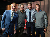 MIAMI, FL - FEBRUARY 2: (L-R) Lead NFL, MLB & USGA Play-By-Play Announcer Joe Buck, XXX, Lead NFL Game Analyst Troy Aikman, and College Football Analyst Joel Klatt at the Fox Sports broadcast of Super Bowl LIV at Hard Rock Stadium on February 2, 2020 in Miami, Florida. (Photo by Frank Micelotta/Fox Sports/PictureGroup)