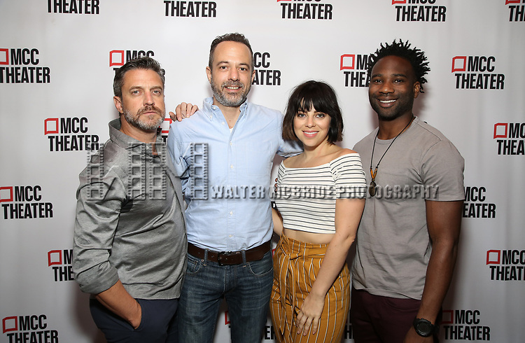 """Raúl Esparza, David Mason, Krysta Rodriguez, and W. Tré Davis attend the photo call for the cast and creative team of MCC Theater's New York Premiere of """"Seared"""" on September 11, 2019 at Artesia Wine Bar in New York City."""