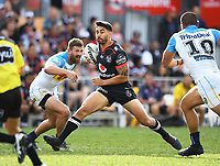 Shaun Johnson.<br /> NRL Premiership. Vodafone Warriors v Gold Coast Titans. Mt Smart Stadium, Auckland, New Zealand. March 17 2018. &copy; Copyright photo: Andrew Cornaga / www.Photosport.nz