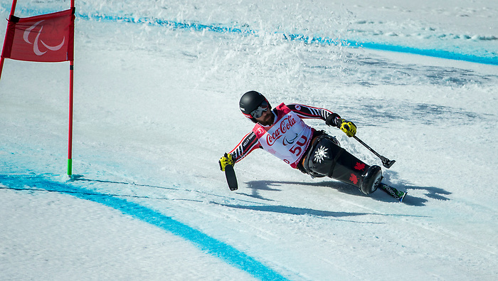 PyeongChang 13/3/2018 - Kurt Oatway skis in the super-G portion of the super combined at the Jeongseon Alpine Centre during the 2018 Winter Paralympic Games in Pyeongchang, Korea. Photo: Dave Holland/Canadian Paralympic Committee