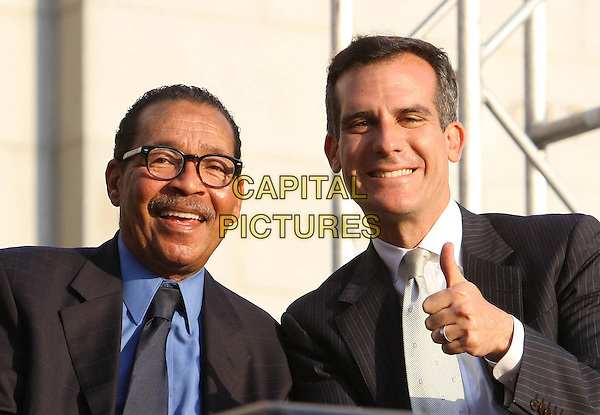 Council President Herb Wesson, Mayor Eric Garcetti<br /> The Ultimate LA Block Party hosted by President Bill Clinton Held At LA City Hall, Los Angeles, California, USA, 7th June 2013.<br /> american politics half length thumb up gesture <br /> CAP/ADM/KB<br /> &copy;Kevan Brooks/AdMedia/Capital Pictures