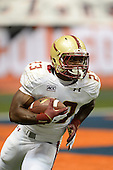 Boston College Eagles kick returner Myles Willis (23) runs the ball up field during a game against the Syracuse Orange at the Carrier Dome on November 30, 2013 in Syracuse, New York.  Syracuse defeated Boston College 34-31.  (Copyright Mike Janes Photography)