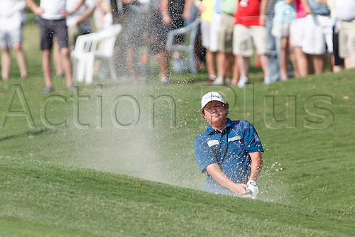17.05.2013. Irving, Texas, USA.  Jason Dufner blasts from a green side buncker on #16 during the second round of the HP Byron Nelson Championship played at the TPC Four Seasons Resort in Irving, TX.