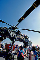 US Navy Sikorsky CH-54 Tarhe Helicopter Military Aircraft on Static Display - at Abbotsford International Airshow, BC, British Columbia, Canada