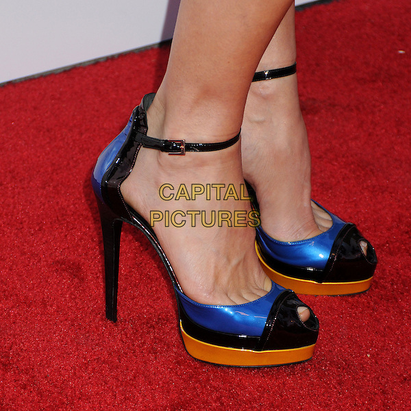 "Kim Dickens' shoes.""At Any Price"" Los Angeles Premiere held at The Egyptian Theatre, Hollywood, California, USA..April 16th, 2013.detail feet heels ankle strap blue gold black patent peep toe.CAP/ADM/BP.©Byron Purvis/AdMedia/Capital Pictures"