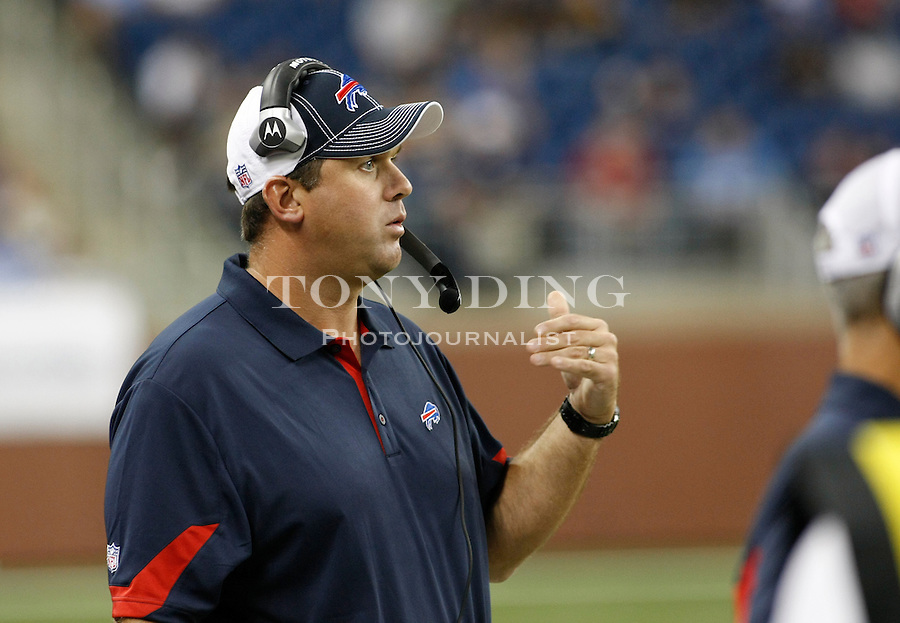 Buffalo Bills offensive quality control coach Kevin Patullo gestures from the sidelines in the second quarter of a preseason NFL football game with the Detroit Lions, Thursday,  Sept. 2, 2010, in Detroit. (AP Photo/Tony Ding)