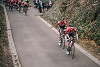 Tosh Van der Sande (BEL/Lotto-Soudal) &amp; Jelle Vanendert (BEL/Lotto-Soudal) up the Hagaard<br /> <br /> 58th De Brabantse Pijl 2018 (1.HC)<br /> 1 Day Race: Leuven - Overijse (BEL/202km)