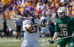 Jack Burgmaster (#23) prepares to pass in front of Spencer Decker (#26) as UAlbany Lacrosse defeats Vermont 14-4  in the American East Conference Championship game at Casey Stadium, May 5.
