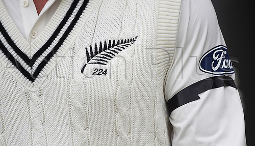 22.02.2016. Christchurch, New Zealand.  Brendon McCullum wears a black armband in remembrance of the Christchurch earthquake of February 22, 2011. Day 3 of the 2nd test match. New Zealand Black Caps v Australia. Hagley Oval in Christchurch, New Zealand. Monday 22 February 2016.