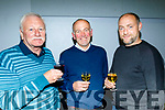 L-R John Brick, Gerard O'Sullivan with Michéal Regan sampling the wine at the Kilmoyley Tidy Towns and garden awards night in the community hall, kilmoyley last Friday.
