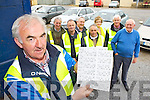 Charlie Farrelly with John Reidy, Martin Conway, John Ryan, Willie Reidy, Martina O'Mahony, Tom Sullivan and Ned Burke who held a drive in Bingo in Castleisland Mart on Sunday..