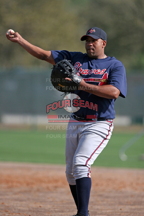Atlanta Braves minor leaguer Carlos Mendez during Spring Training at Disney's Wide World of Sports on March 15, 2007 in Orlando, Florida.  (Mike Janes/Four Seam Images)