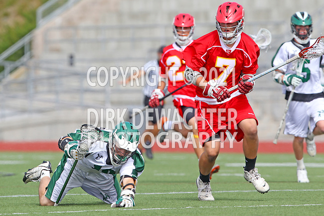 San Diego, CA 05/21/11 - Sam Simmons (Cathedral Catholic #7) and Andrew Woolf (Coronado #10) in action during the 2011 CIF San Diego Section Division 2 Varsity Lacrosse Championship between Cathedral Catholic and Coronado.