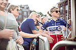 Charlotte Bravard (FRA) FDJ Nouvelle-Aquitaine Futuroscope at the Team presentation of La Fleche Wallonne Femmes 2018 running 118.5km from Huy to Huy, Belgium. 17/04/2018.<br /> Picture: ASO/Thomas Maheux | Cyclefile.<br /> <br /> All photos usage must carry mandatory copyright credit (&copy; Cyclefile | ASO/Thomas Maheux)