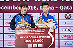 Youngsik Jeoung and Sangsu Lee of South Korea celebrating after winning the Men's Doubles Final match during the Seamaster Qatar 2016 ITTF World Tour Grand Finals at the Ali Bin Hamad Al Attiya Arena on 11 December 2016, in Doha, Qatar. Photo by Victor Fraile / Power Sport Images