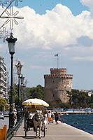 The White Tower. Horse drawn carriage. Thessaloniki, Macedonia, Greece