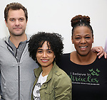 "Joshua Jackson, Lauren Ridloff and Kecia Lewis attends the cast photo call for the Broadway Revival of  ""Children of a Lesser God"" on February 22, 2018 at the Roundabout Rehearsal Studios in New York City."