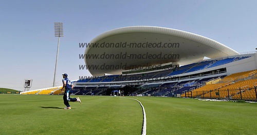 T20 World Cup Qualifying match - Scotland V Namibia at the Sheikh Zayed Stadium - Abu Dhabi - Scotland in the field (player is Richie Berrington) at theis futuristic stadium - Scotland lost by 49 runs - Picture by Donald MacLeod  14.3.12  07702 319 738  clanmacleod@btinternet.com
