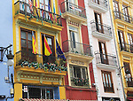 Historic narrow buildings in city centre, Valencia, Spain