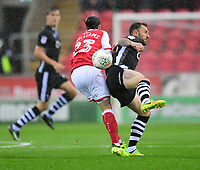 Lincoln City's Neal Eardley vies for possession with Rotherham United's Ryan Williams<br /> <br /> Photographer Chris Vaughan/CameraSport<br /> <br /> The Carabao Cup First Round - Rotherham United v Lincoln City - Tuesday 8th August 2017 - New York Stadium - Rotherham<br />  <br /> World Copyright &copy; 2017 CameraSport. All rights reserved. 43 Linden Ave. Countesthorpe. Leicester. England. LE8 5PG - Tel: +44 (0) 116 277 4147 - admin@camerasport.com - www.camerasport.com