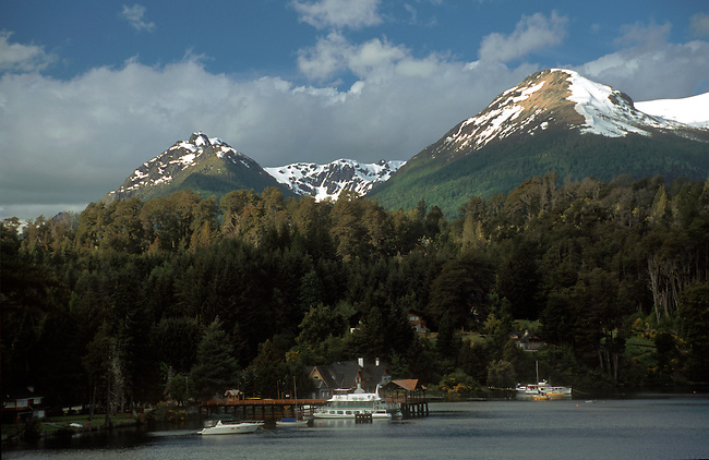 YACHTS & ANDES PEAKS in NAHUEL HUAPI LAKE in LOS ARRAYANES NATIONAL PARK - LAKE DISTRICT of ARGENTINA