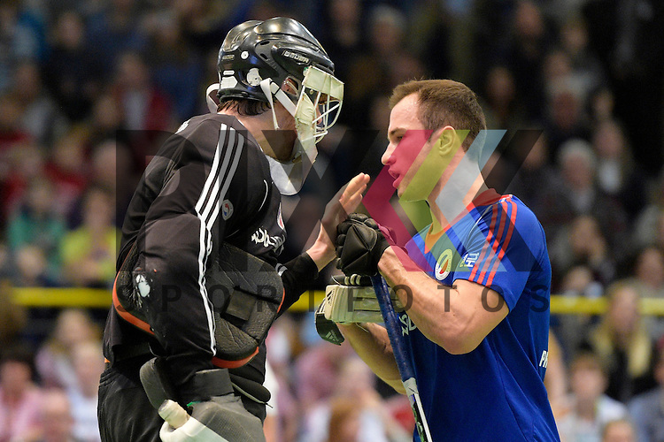 GER - Luebeck, Germany, February 06: During the 1. Bundesliga Herren indoor hockey semi final match at the Final 4 between Uhlenhorst Muelheim (white) and Mannheimer HC (blue) on February 6, 2016 at Hansehalle Luebeck in Luebeck, Germany.  Final score 2-3 (HT 7-5).  Andreas Spaeck #1 of Mannheimer HC, Tomas Prochazka #5 of Mannheimer HC<br /> <br /> Foto &copy; PIX-Sportfotos *** Foto ist honorarpflichtig! *** Auf Anfrage in hoeherer Qualitaet/Aufloesung. Belegexemplar erbeten. Veroeffentlichung ausschliesslich fuer journalistisch-publizistische Zwecke. For editorial use only.