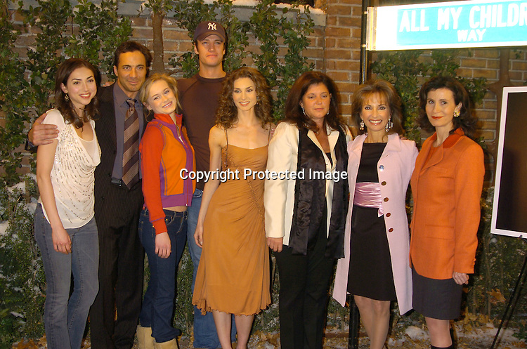 """The Cast of All My Children, Eden Riegel, Thorsten Kaye,..Leven Rambin, James Scott, Alicia Minshew, the producer of All My Children Julie Hannan-Carruthers, Susan Lucci ..and Katherine Oliver ..at the All My Children set to unveil the """"All My Children Way"""" street sign in celebration of the 35th Anniversary of the show. Katherine Oliver, Commissioner of the Mayor's Office of Film, Theatre and Broadcasting presented the ..sign. ..Photo by Robin Platzer, Twin Images"""