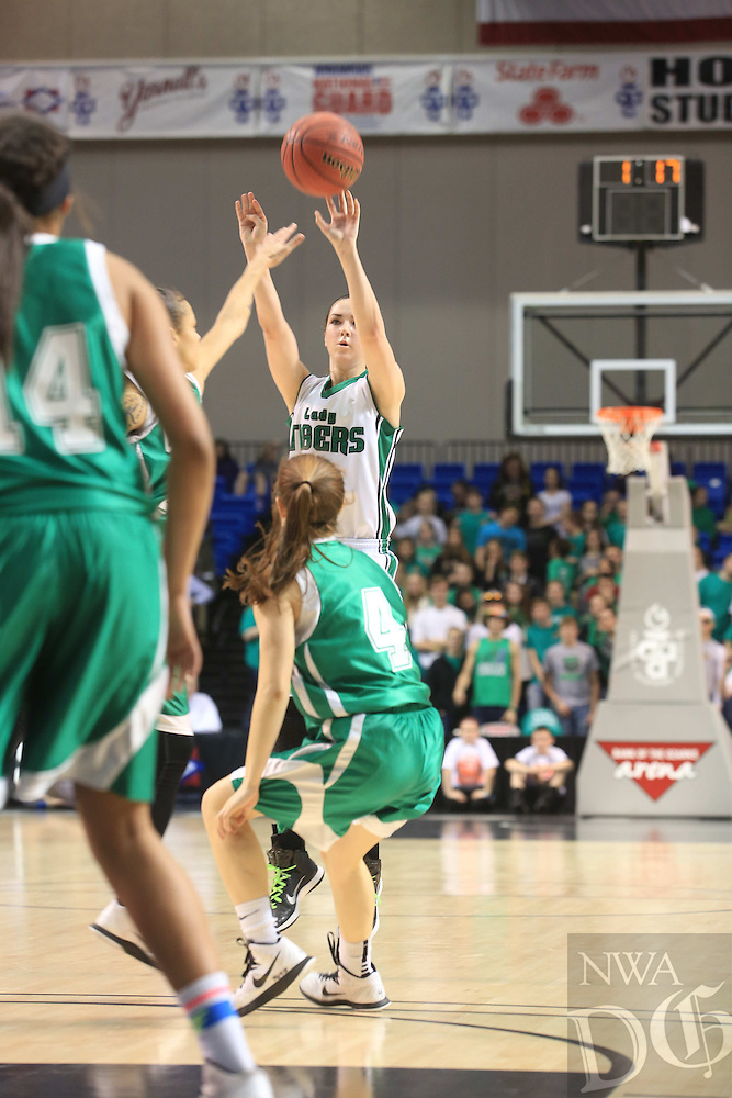 Arkansas Democrat-Gazette/RICK MCFARLAND --03/12/15--  Valley Springs' Greenlands' in the 3A finals of the Girls's State High School Basketball Championships in Hot Springs Thursday.