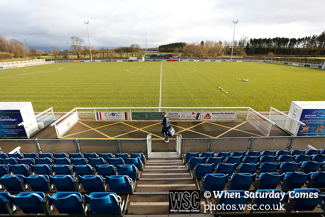 A Hebburn player arrives at the ground. Penrith AFC V Hebburn Town, Northern League Division One, 22nd December 2018. Penrith are the only Cumbrian team in the Northern League. All the other teams are based across the Pennines in the north east.<br /> Penrith, winless at kick off, lost a thriller 3-4, in front of 100 people. They won five games all season, but were reprieved from relegation following Blyth's resignation from the league.