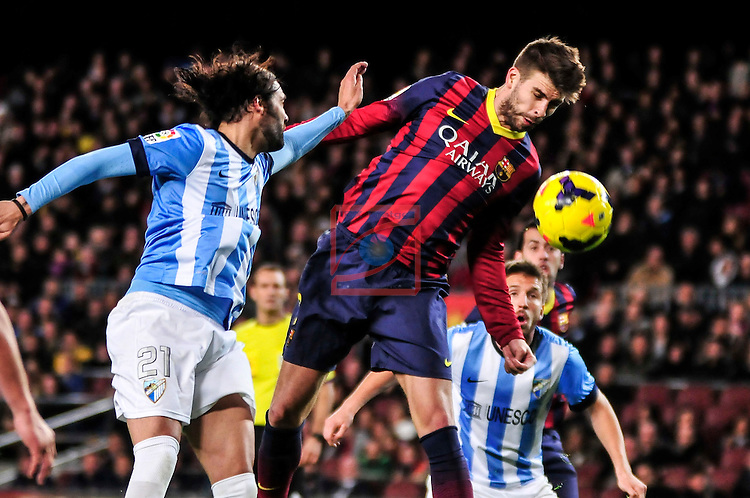 League BBVA 2013/2014 - Game: 21.<br /> FC Barcelona vs Malaga CF: 3-0.<br /> Sergio Sanchez vs Gerard Pique.