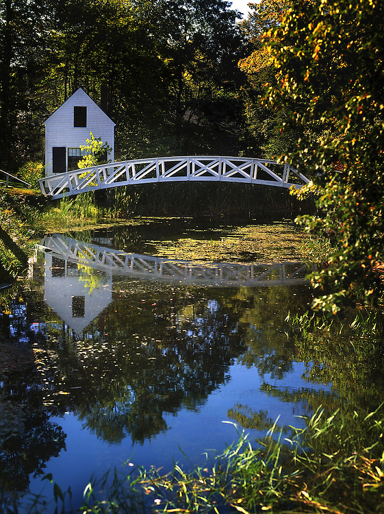 A white timber foot bridge over a pond with reflections of trees and a white building
