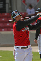 Chris Heisey of the Carolina Mudcats in the on deck circle waiting to hit against  the Huntsville Stars on April 22, 2009 at Five County Stadium in Zebulon, NC.