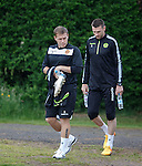 Stevie Hammell and Stephen McManus arrive for training after their short summer break