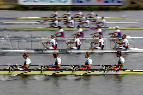 25 August 2006: Effect picture as the crews race away from the start of the Men's Quadruple Sculls Semi-Final during day six of the 2006 World Rowing Championships held on Dorney Lake, Eton. Photo: Neil Tingle/Action Plus...060825 row rowing rower water sport effect blur pan