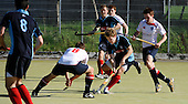 Scottish Hockey League - Western Wildcats V Grange HC at Auchenhowie, Milngavie - Grange forward Calum Milne tries to find a way through the Western defence - the match ended 3-3 - picture by Donald MacLeod 25.09.07 - mobile 07702 319 738 - clanmacleod@btinternet.com - www.donald-macleod.com