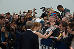 Jessica Chastain with fans  in front of her dedicated beach locker room on the Promenade des Planches on September 5, 2014 in Deauville, France