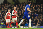 10th January 2018, Stamford Bridge, London, England; Carabao Cup football, semi final, 1st leg, Chelsea versus Arsenal; Jack Wilshere of Arsenal comes across midfield with the ball