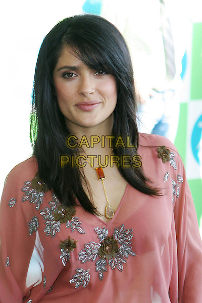SALMA HAYEK.20th Annual IFP Independent Spirit Awards held on Santa Monica Beach. .February 26th, 2005.Photo credit: Jacqui Wong/AdMedia.headshot portrait gem necklace jewellery pink floral print top.www.capitalpictures.com.sales@capitalpictures.com.© Capital Pictures.